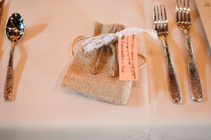 Like the place cards, Samantha and Ben's wedding favors reflected their love for nature and the outdoors. All of the guests took home a burlap bags filled with seeds they could plant in their gardens.