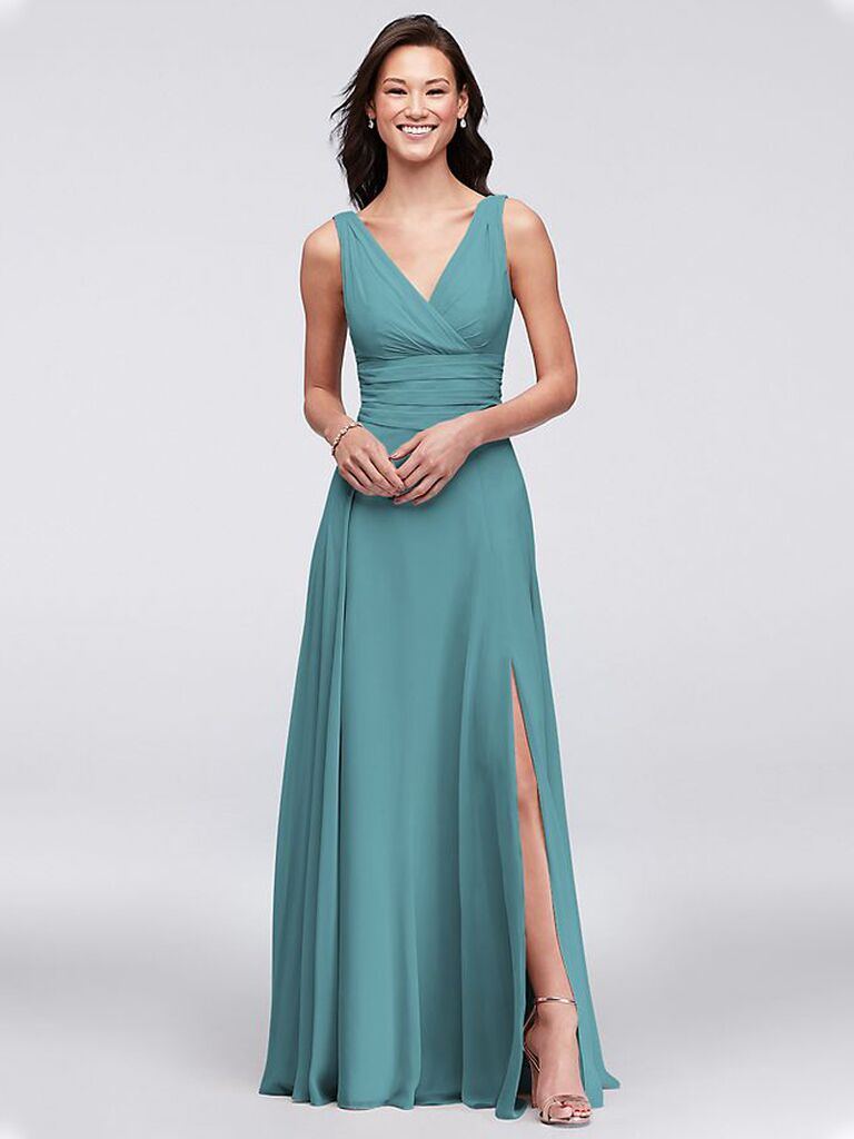 Long teal bridesmaid dress under $150