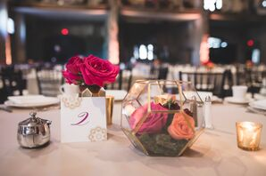 Terrarium Centerpiece with Bright Roses