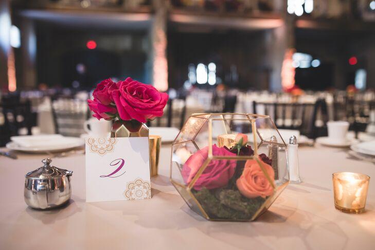 Terrarium Centerpiece with Bright Roses