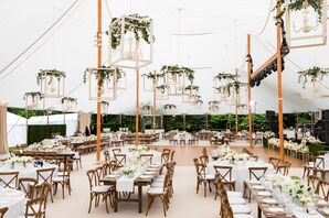 Tented Reception with White Lanterns and Greenery