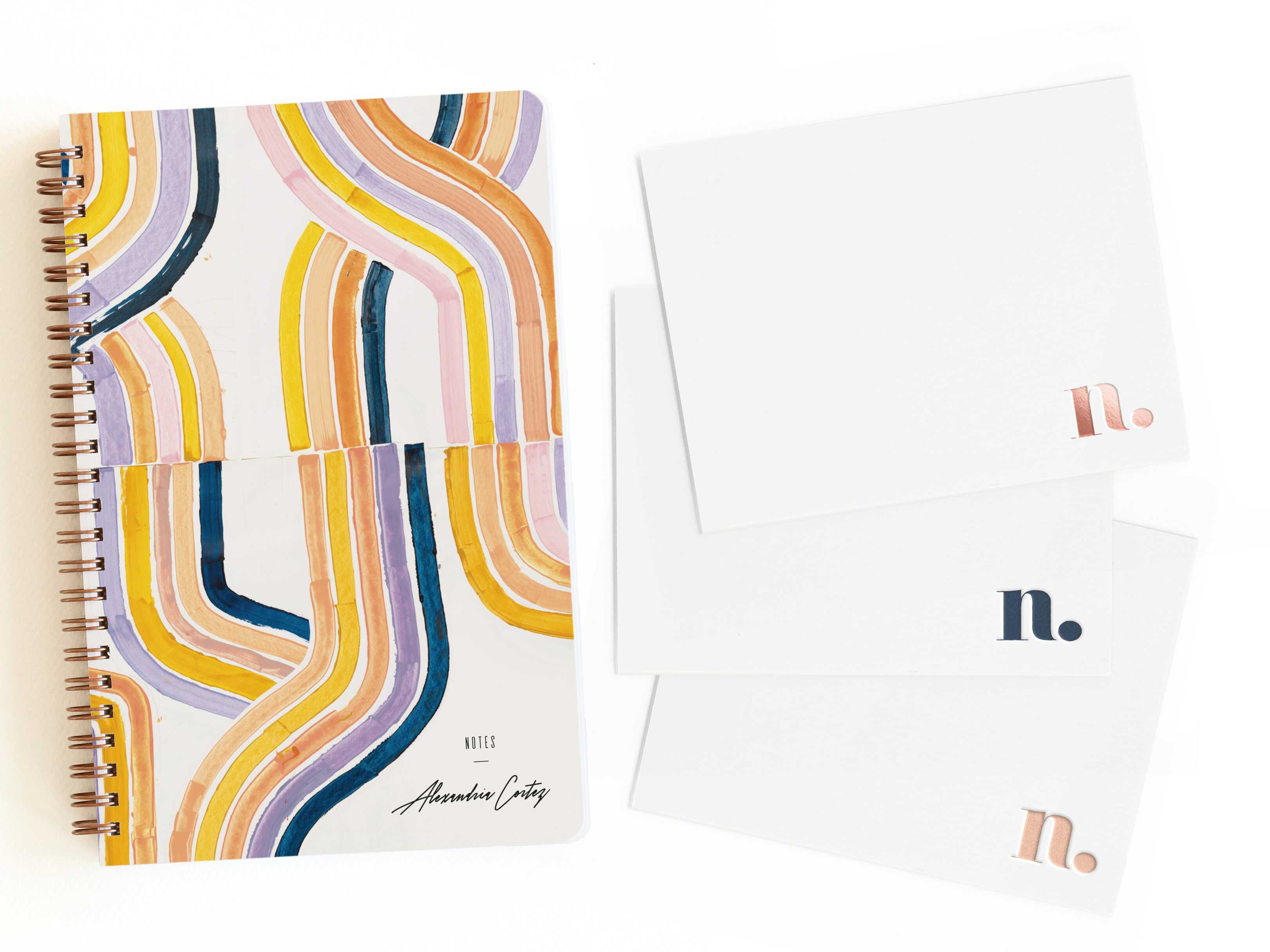 colorful notebook and monogrammed foil stationery from Minted for mother's day gift