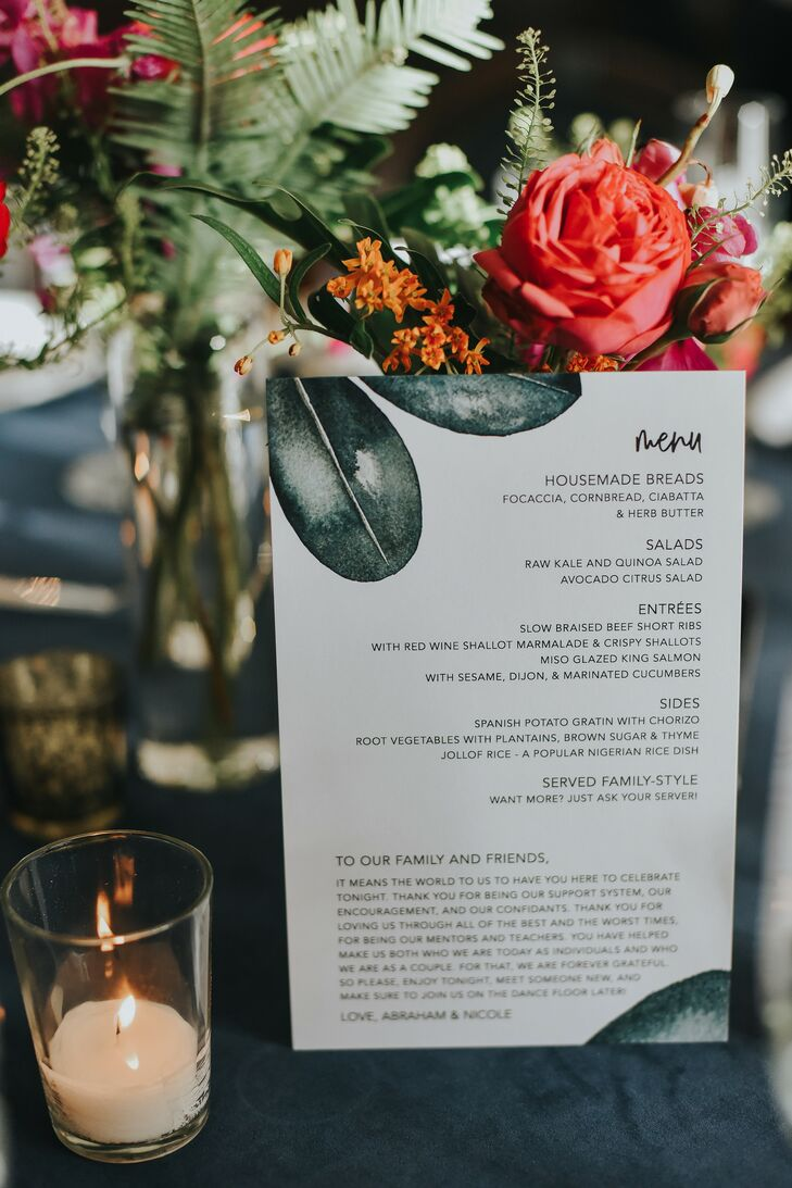 Tropical Menu Card for Reception at Ebell Long Beach in California