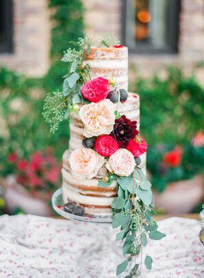 Garden Rose and Dahlia Naked Wedding Cake