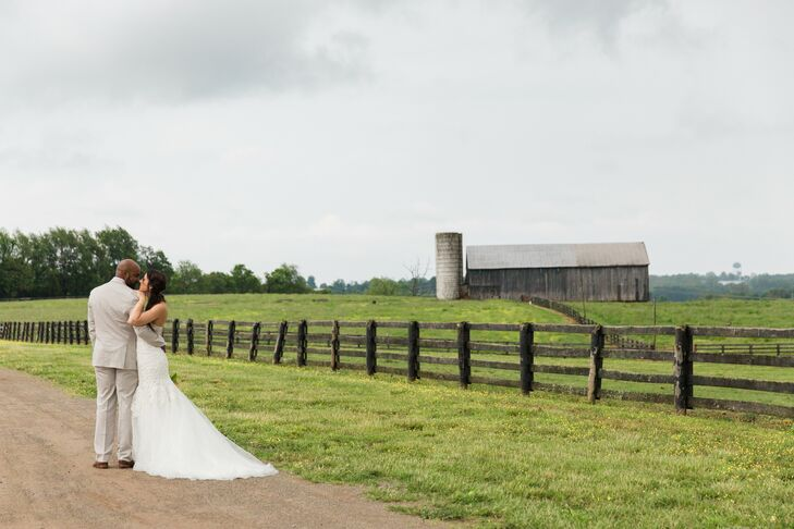 Kelsey's dress was both Southern and stunning. It had intricate lace details from the strapless sweetheart neckline down the bodice, and flared into a trumpet-style organza skirt with a chapel-length train.