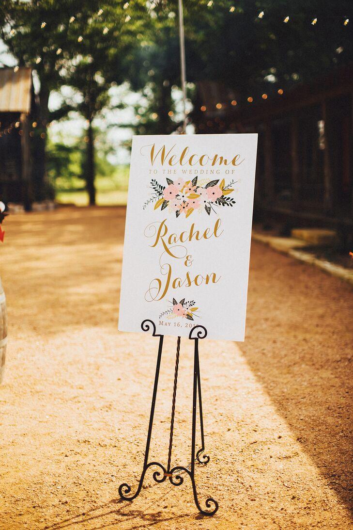 Elegant Pink Floral-Inspired Wedding Sign