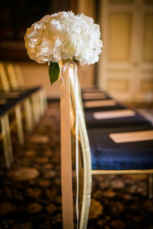 Ivory Hydrangea and Champagne Ribbon Arrangements