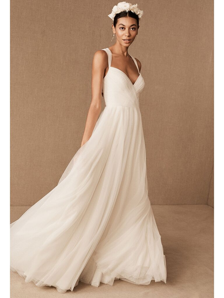BHLDN A-line dress with sheer straps