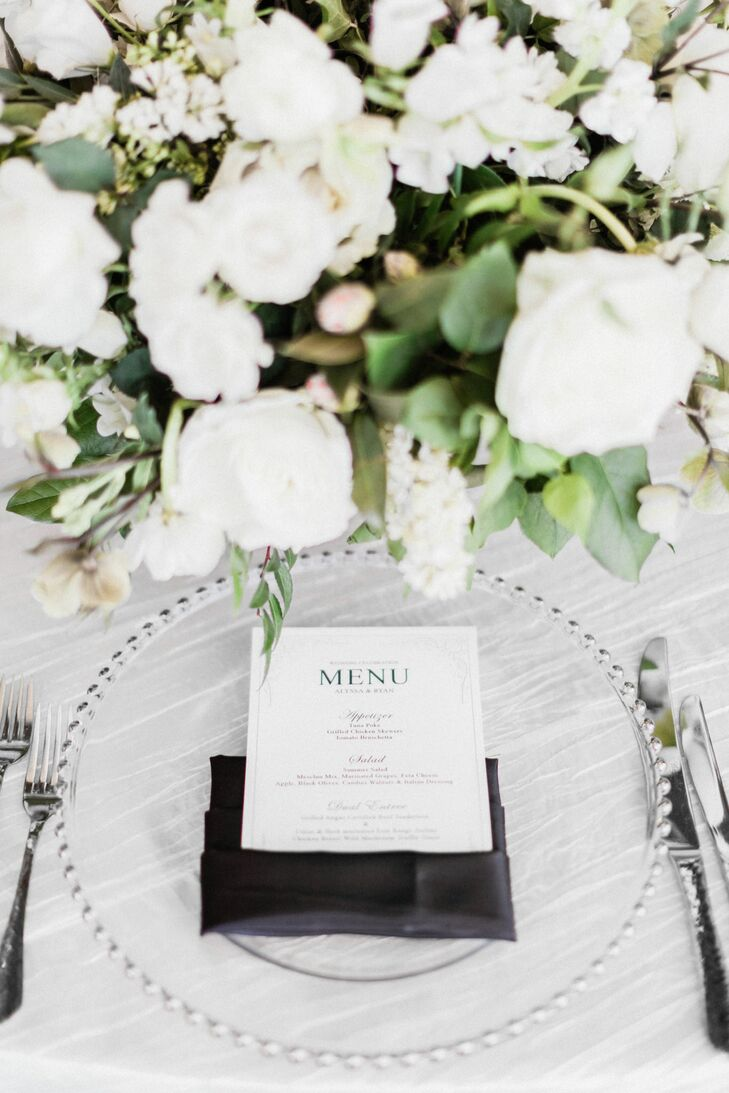 Classic Menu Cards in Folded Black Linens