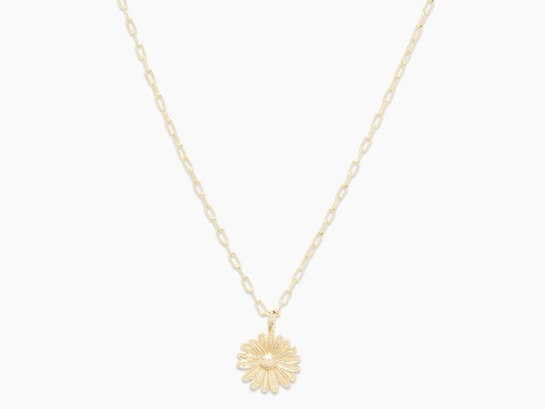 Gold daisy charm necklace fifth anniversary flower gift