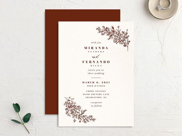 Simple fall foliage wedding invitation
