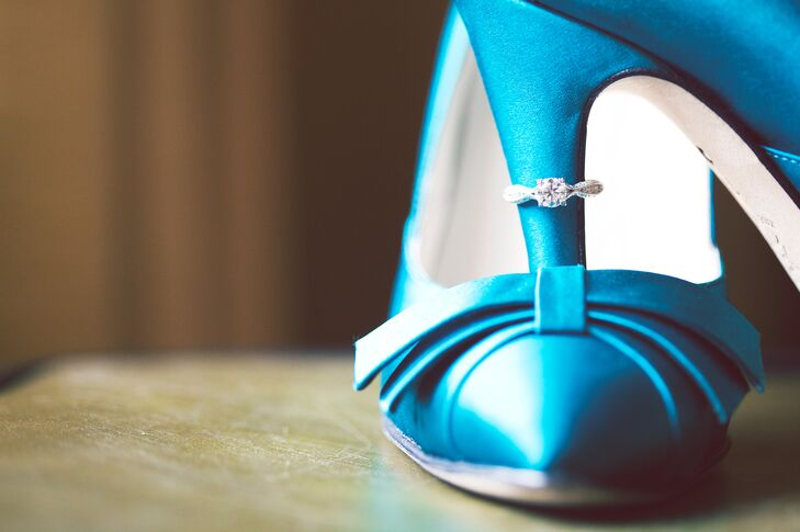 Ashley completed her classic, glam bridal look with a pair of blue, satin heels found on eBay.