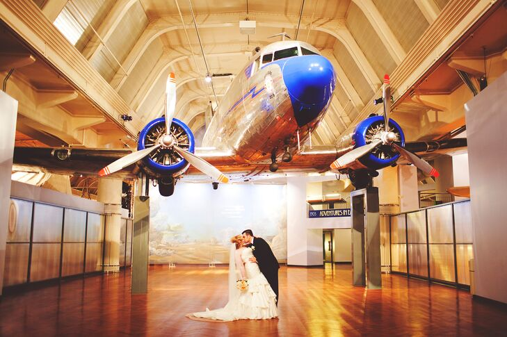 Old Hollywood glamour was met with historic Michigan charm for Ashley and Tom's classic wedding day at The Henry Ford Museum in Dearborn. After meetin