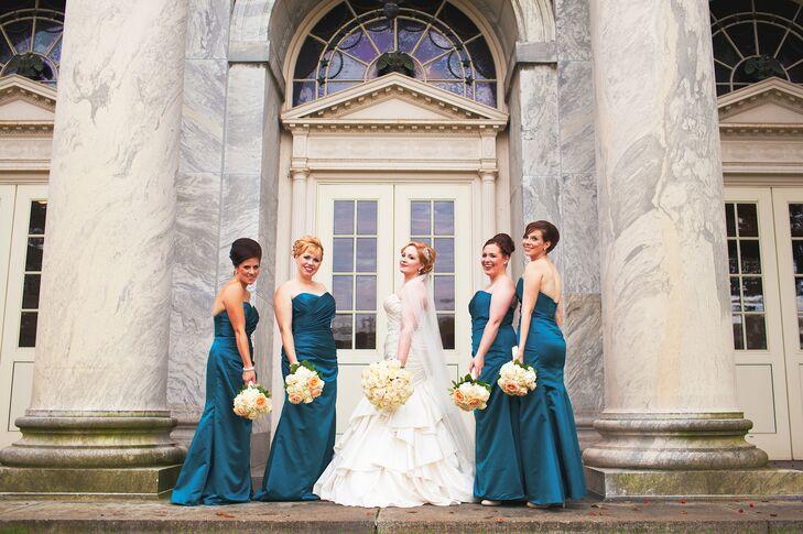 Floor Length, Teal Bridesmaid Dresses