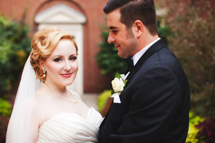 The bride paired her elegant, vintage-inspired updo with a crystal comb found at J. Crew.