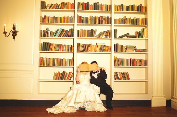 Bride and Groom Posing with Books