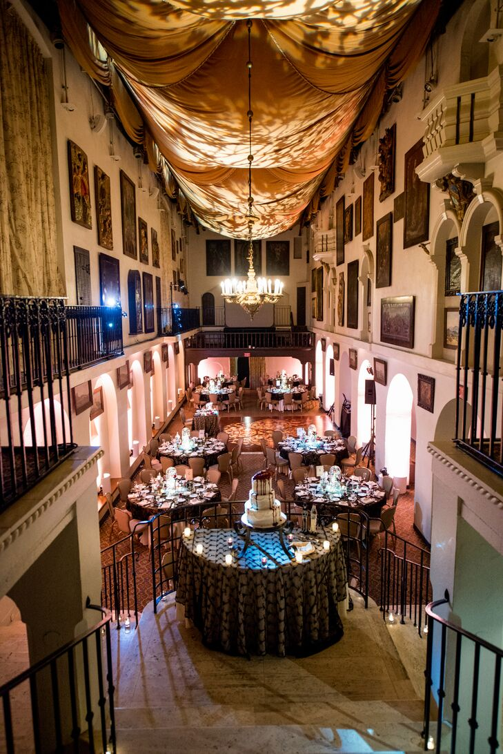 The high ceilings of the Spanish Art Gallery at the Mission Inn Hotel & Spa in Riverside, California, were draped with fabric and projected with outlines of shadowy branches, creating the atmosphere of an enchanting haunted forest.