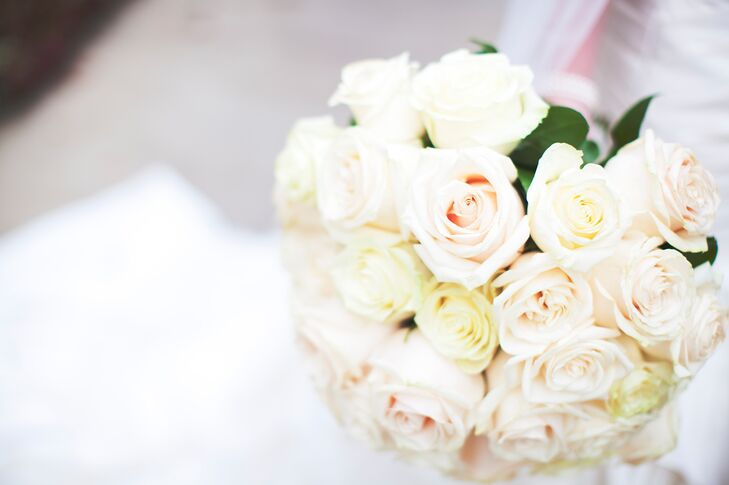 Romantic Pink and Ivory Rose Bouquet