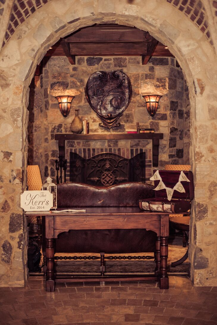 Vintage Card Table and Fireplace Backdrop
