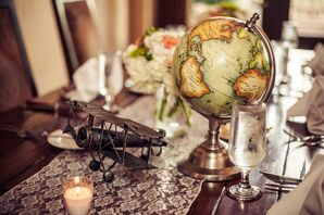 DIY Vintage Globe and Metal Airplane Centerpieces