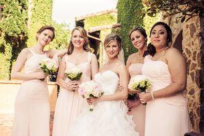 Different Style Blush David's Bridal Bridesmaid Dresses