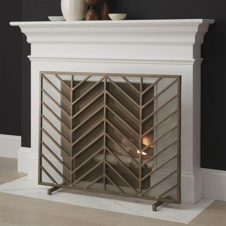 Chevron brass fireplace screen