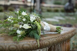 Winter Greens and Whites Natural Bridal Bouquet