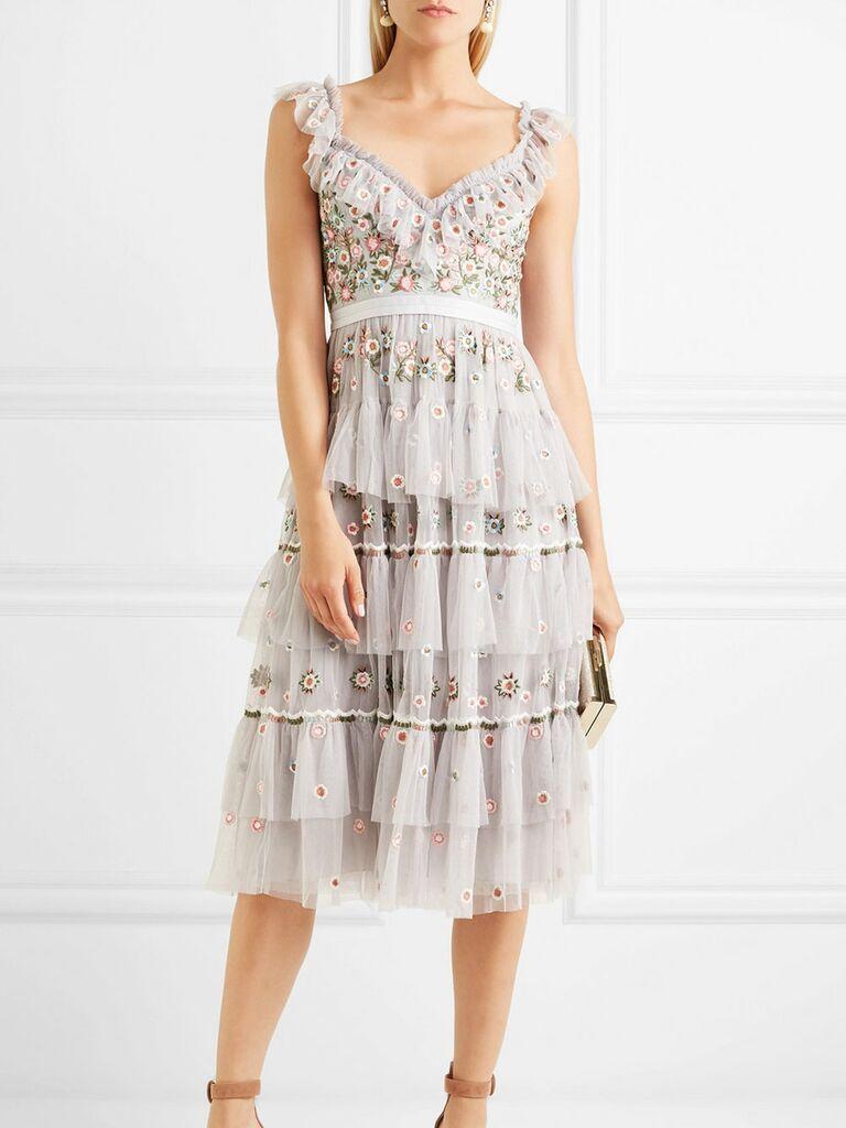 Floral midi Needle & Thread spring bridesmaid dress