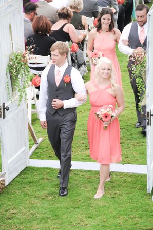 Coral Bridesmaids Dresses and Gray Groomsmen Attire