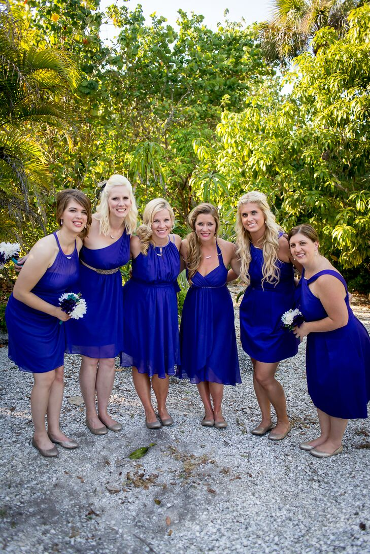 Different Styled Strapless Royal Blue Bridesmaid Dresses