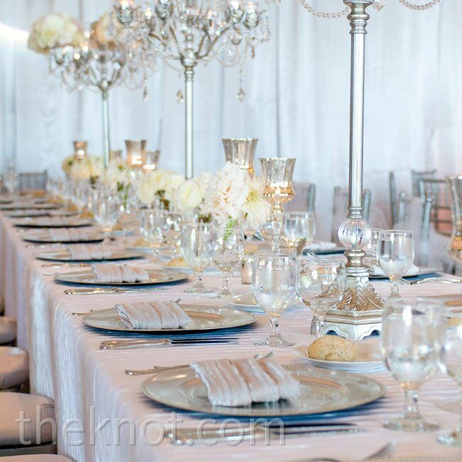 A row of crystal candelabras created a romantic yet contemporary vibe.