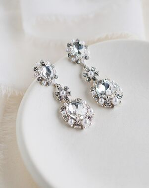 Dareth Colburn Alicia Crystal & Pearl Earrings (JE-4194) Wedding Earring photo