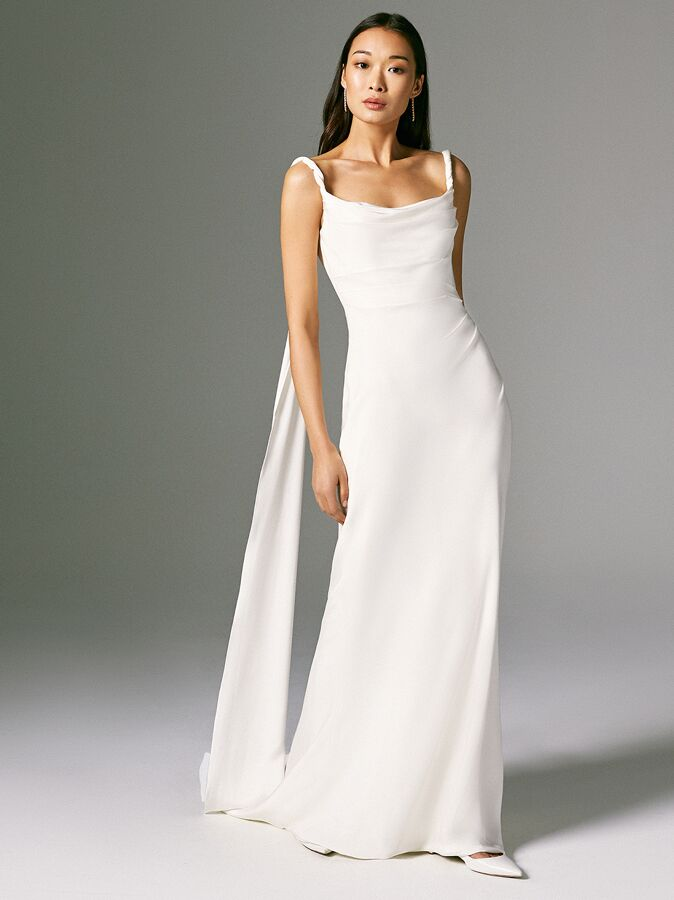 Savannah Miller scooped cowl neck wedding dress with twisted straps