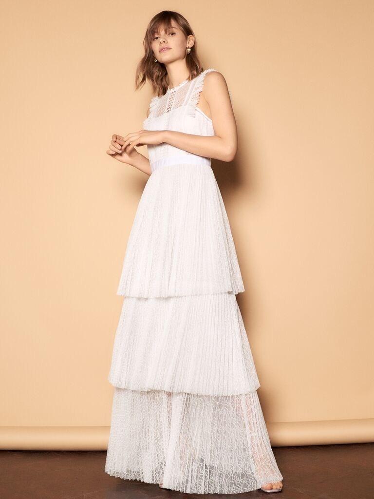 Whistles Wedding 2019 Bridal Collection tiered, pleated, sleeveless wedding dress