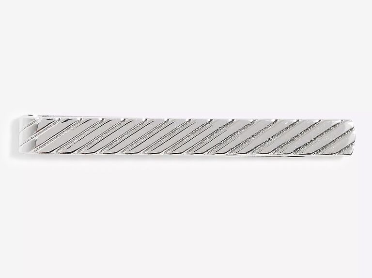 Striped tie bar silver anniversary gift
