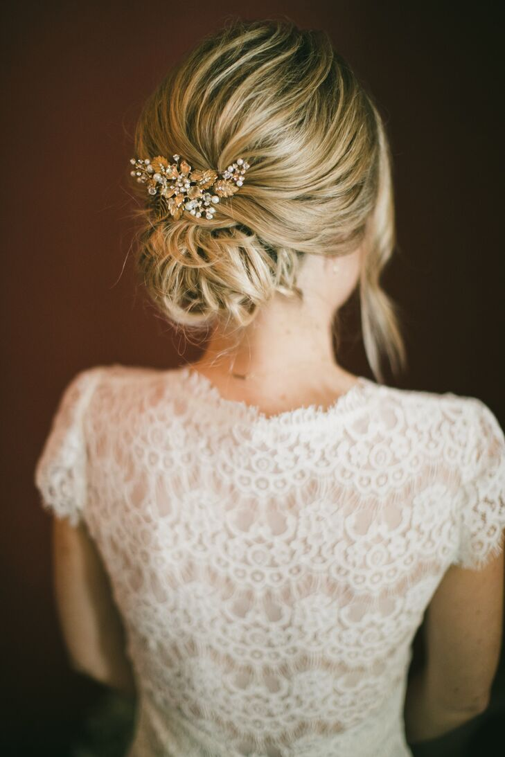 Classic Low Chignon with Gold Floral Comb
