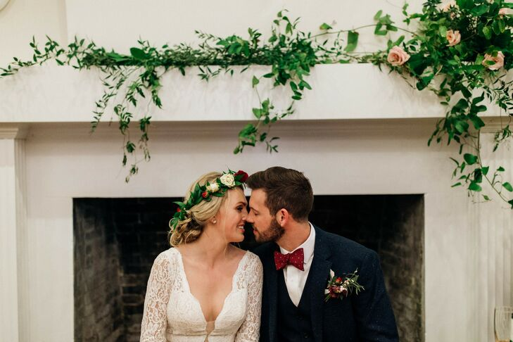 Romantic Bride Wearing Lace Dress and Flower Crown and Groom Wearing Tweed Jacket