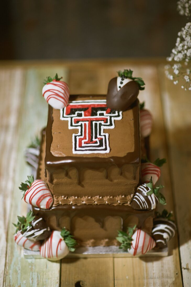 The groom's cake was a chocolate Texas Tech cake with chocolate-covered strawberries on each tier.