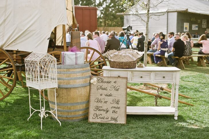 Rustic Ceremony Decor and Sign with Programs
