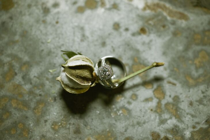 Diamond Engagement Ring on Cotton Boll