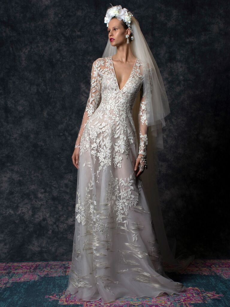 Naeem Khan Spring 2020 Bridal Collection lace V-neck wedding dress with illusion long sleeves