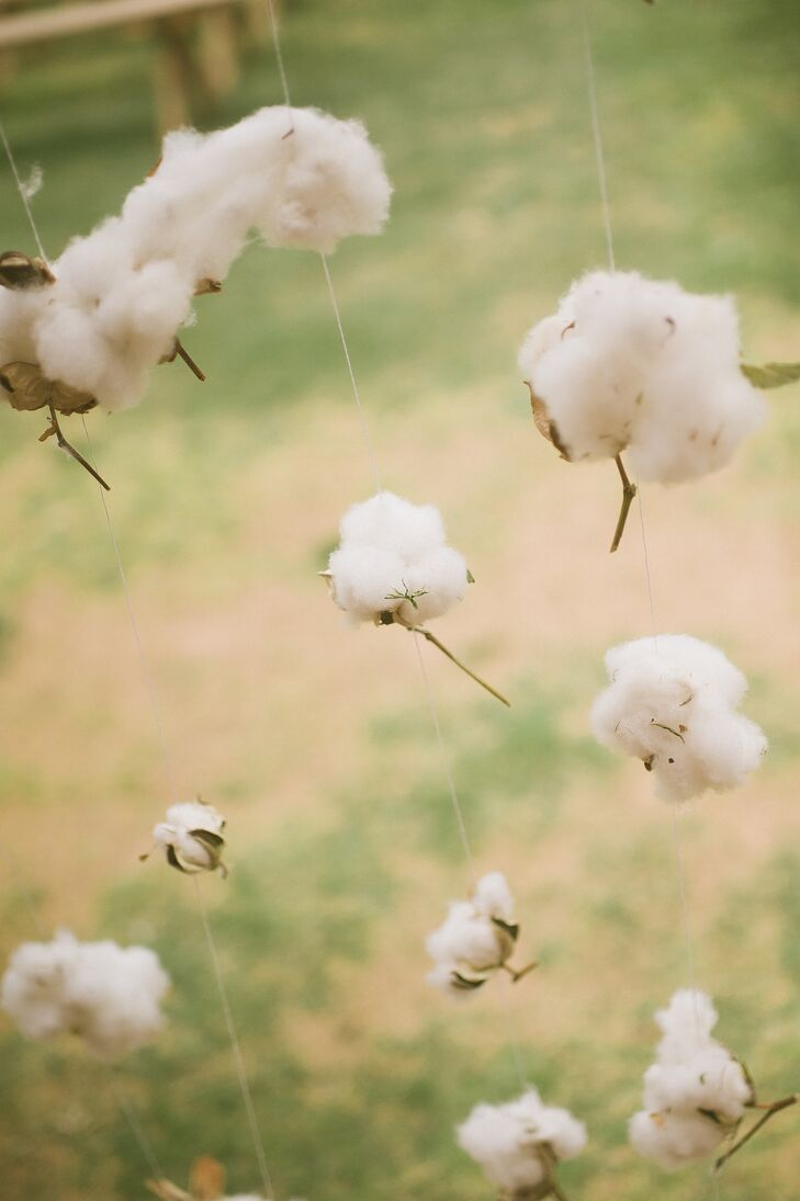 Cotton Boll Garlands on Wedding Ceremony Arch
