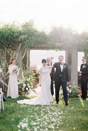 Ivy-Draped Stone Wedding Arch