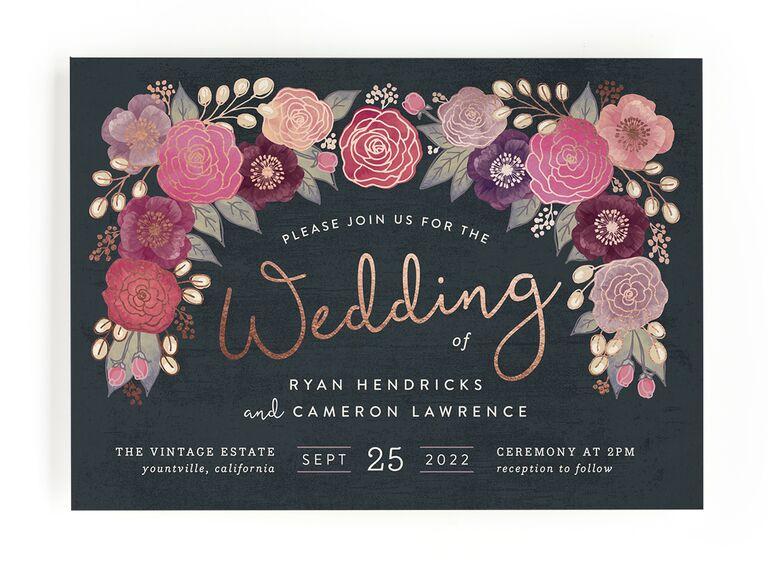 Pink floral fall wedding invitation