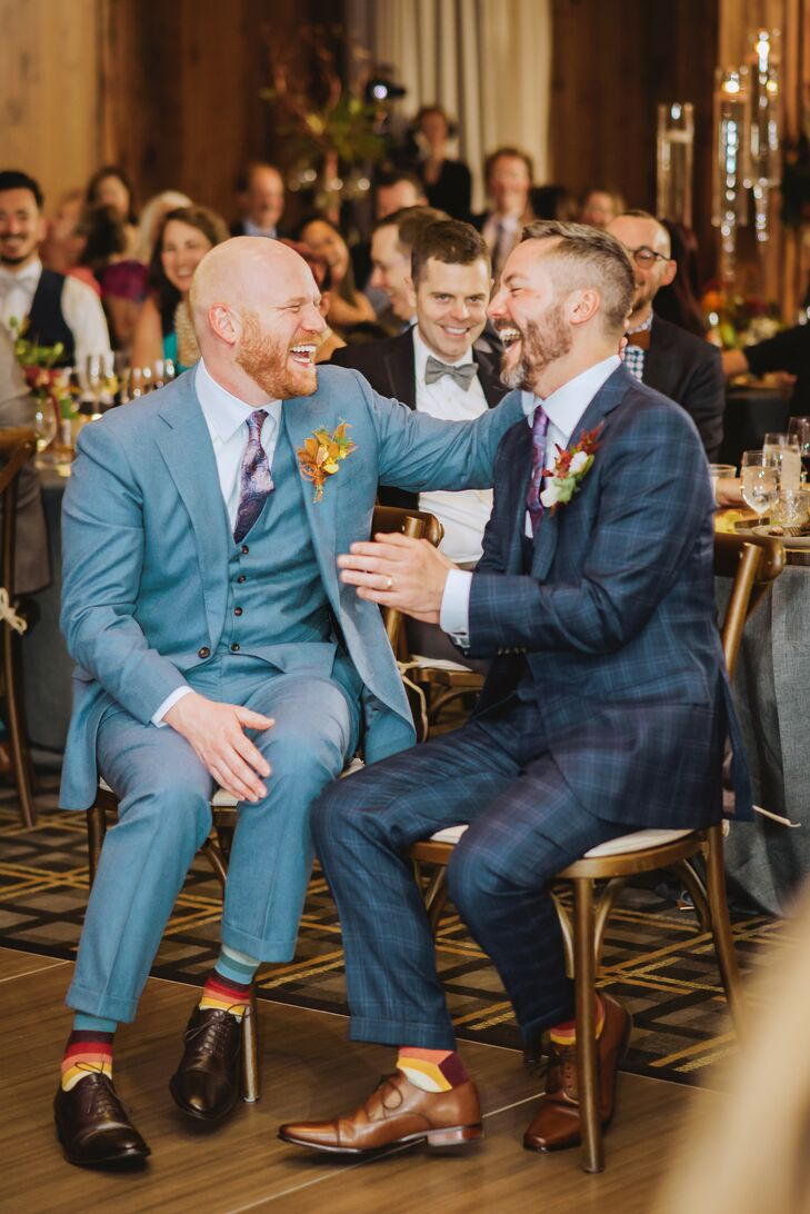 Modern Grooms with Light Blue Suit and Navy Windowpane Suit