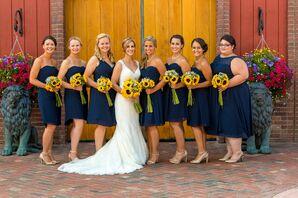Navy Knee-Length Bill Levkoff Bridesmaid Dresses
