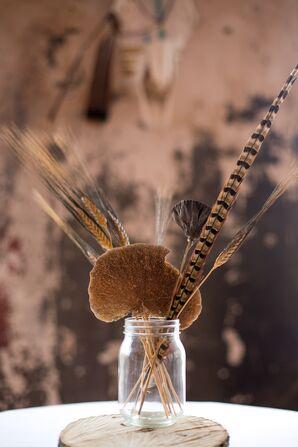 Rustic Wheat, Feather, Mushroom Centerpieces