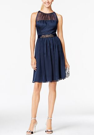 Adrianna Papell Adrianna Papell Belted Chiffon Halter Dress Illusion Bridesmaid Dress