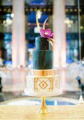 Modern Cake Designed with Art Deco and Celestial Tiers