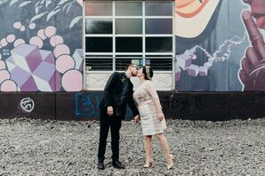 Modern Couple with Artsy, Industrial Backdrop